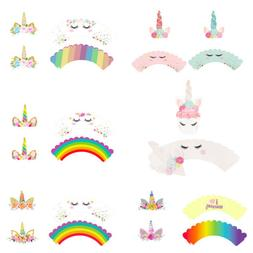 24pcs Rainbow Unicorn Cupcake Cake Wrappers Toppers Kids Bir