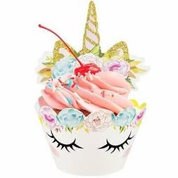 Unicorn Cupcake Toppers Wrappers Happy Birthday Party Cake D