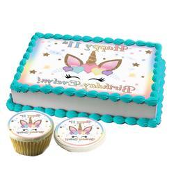 Unicorn face hearts Birthday Cake topper Edible paper sugar