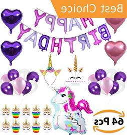 Unicorn Party Supplies Decorations for Girls - Special 64pcs