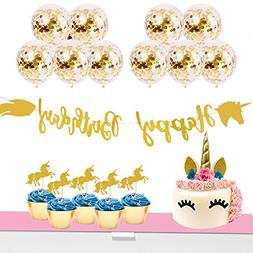 Unicorn Party Supplies Set - Cake Topper, Cupcake Toppers, C