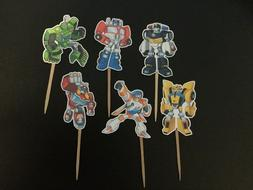 UNIQUE TRANSFORMERS RESCUE BOTS CUPCAKE TOPPERS, CAKE TOPPER