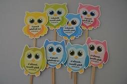 UNIQUE PERSONALIZED OWL CUPCAKE TOPPERS BABY SHOWER, BIRTHDA