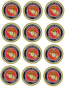 """United States Marine Corps Cupcake Toppers Edible Image 2"""" F"""