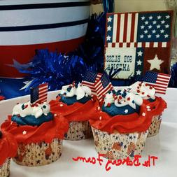 USA AMERICAN FLAG CUPCAKE PICKS, BAKING CUPS & SPRINKLES CAK
