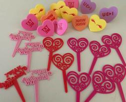 Valentine's Day Cupcake Toppers Picks Rings Hearts Love