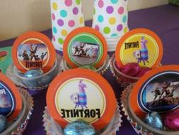 Video Games cupcake toppers, 24 pieces for kids, llama Fort