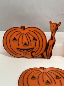 Vintage Halloween Cupcake Picks Toppers Cat With Pumpkin Vin