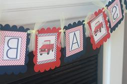 """Vintage Red & Turquoise Blue Pickup Truck """"It's a Boy"""" Navy"""