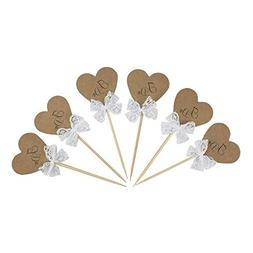 Vintage Rustic Kraft Paper Heart I DO Cake Cupcake Toppers P
