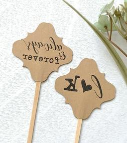 Wedding cupcake toppers, engagement picks, rustic tags for
