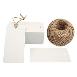 White Gift Tags, G2PLUS 100 PCS Kraft Paper Gift Tag with 10