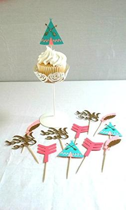 Wild One Tribal Cupcake Toppers - party supplies - boho - az