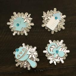 Winter Wonderland Baby Blue And Silver cupcake toppers