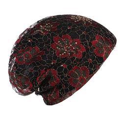 Suma-ma Women Solid Bead Muslim Hat Stretch Retro Turban Hat