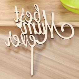 Wood Cupcake Toothpick Toppers Best Mom Ever Party Cake Topp