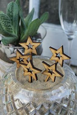 Wooden Star Cupcake Toppers, for Birthdays, Annviersary, All