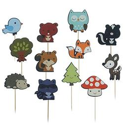 Shxstore Woodland Creatures Theme Cupcake Toppers Forest Ani