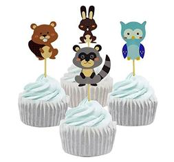Yunko 24 Pcs Woodland Forest Animal Owl Cupcake Muffin Toppe