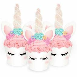xo, Fetti Unicorn Cupcake Toppers + Wrappers - Set of 24 | B