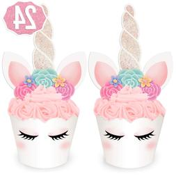 xo, Fetti Unicorn Cupcake Toppers + Wrappers - Set of 24 | B