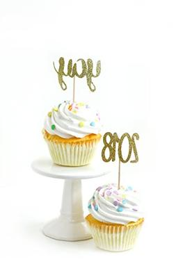 24pc Yay and 2018 Gold Glitter Cupcake Toothpick Toppers