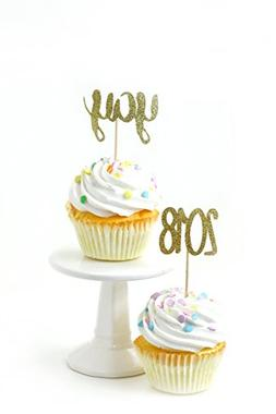 Yay and 2018 Gold Glitter Cupcake Toothpick Toppers