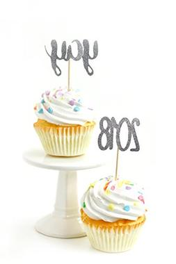 24pc Yay and 2018 Silver Glitter Cupcake Toothpick Toppers