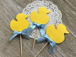 Yellow Ducky Cupcake Toppers - Set of 12 - Baby Shower Food