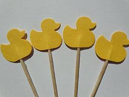 Small Yellow Ducky Cupcake Toppers - Party Picks - Baby Show